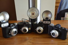 4 Agfa cameras from the 1950s, 2 x the Clack, two types, and the Click 1 and 2 With 3 flash units and some bags