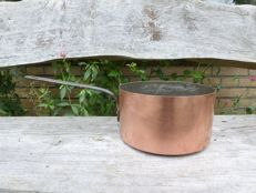 Very large heavy French copper steel pan with tinned inside with cast iron steel - 2.7 kg