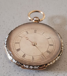 4.  Higuilles no. 2785 - gold decorative pocket watch - enamel work - around 1840 Switzerland