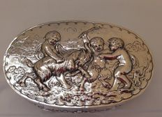 Silver oval box with male goat and putti, J.D. Schleissner & Söhne, Germany, Hanau, 1897