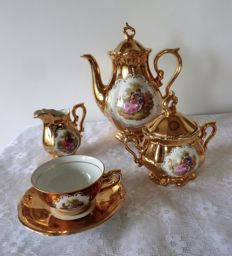 Mocha set Bavaria schaller wiesau gold plated