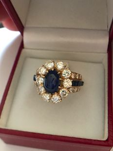 Van Cleef & Arpels gold ring with sapphires and diamonds - 18 kt yellow gold - Size 13