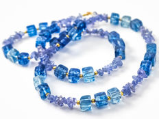 Long tanzanite necklace with kyanite quartz gems, 56 cm length, 18 kt gold clasp