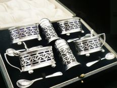 10 Piece Cased Silver Plated Condiment Set c.1920
