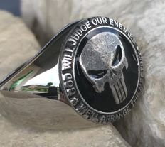 23 Grams Massive Handmade USMC Marines Punisher Skull Ring Hypoallergenic 21st Century