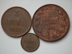 Russia for Finland - Set of 3 coins (1, 5, 10 Penni) 1911-1917