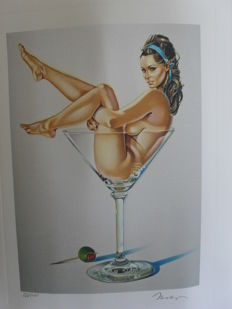 lithography Mel Ramos - Miss Martini - 1990