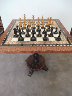 Chess table with original chess pieces