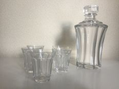 Saint Louis crystal decanter with five shot glasses, France, late 20th century