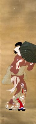 'Bijin in snow' (美人) detailed scroll painting on cloth, signed and stamped - Japan - ca. 1920