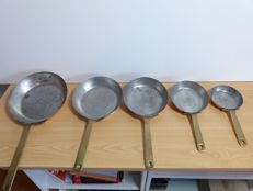 French copper frying pans with tinned inside - 5 piece set