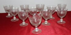 11 collectible etched crystal flutes