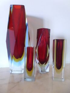 """Murano - set of four vases in """"sommerso"""" glass"""