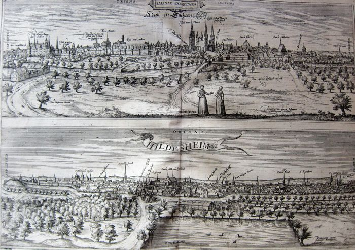 Germany, Halle, Hildesheim; Braun & Hogenberg - Hall in Sachsen and Hildesheim - 1623