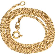 Yellow gold 18 kt curb link necklace – Length 50 cm