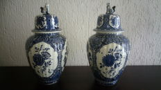 Two beautiful Boch Delft blue lidded pots