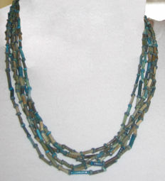 Six string necklace of old Egyptian faience beads - 47 cm.