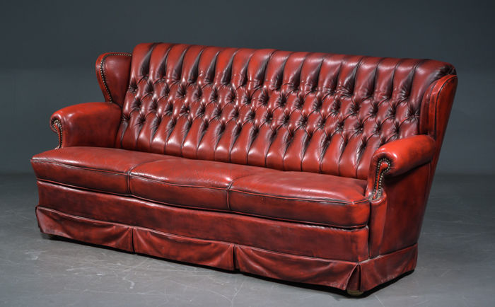 Chesterfield style three-seater sofa