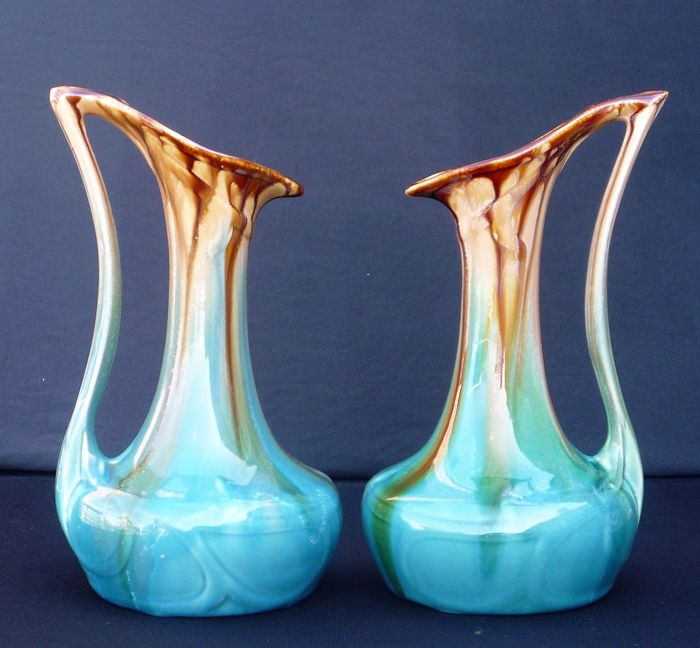 Faïenceries de Thulin - Two Art Nouveau jugs with dripping glaze