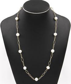 Yellow gold 18 kt/750 - Choker with oval chain - South Sea Australian Pearls - Length 67 cm