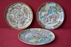 Set of 3 porcelain plates - China - 19th century
