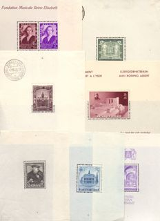 Belgium 1930/1938 – selection of  blocks – OBP BL2 and 4A through 9