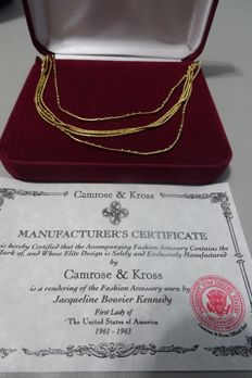 CAMROSE & KROSS - JACKIE KENNEDY - Multi Chain Necklace with Box & Certificate of Authenticity