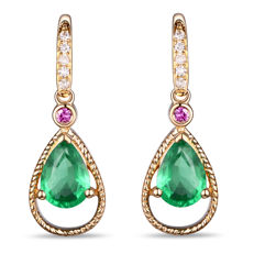 14 kt yellow gold earrings with emeralds (total of 1.12 ct) rubies and natural diamonds G-H/SI1 (total of 0.11 ct)