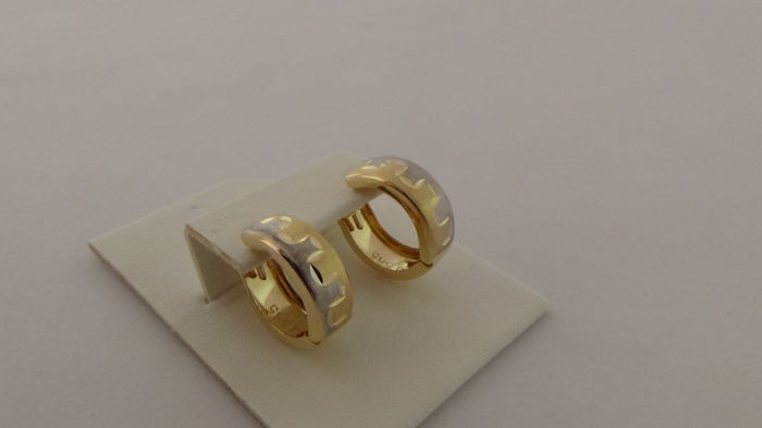 14 kt Bi-colour Gold Earrings - Diameter: 15.2 mm