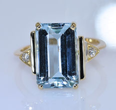 14.18 ct Aquamarine with Diamonds. No reserve price!