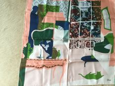Two Dior silk scarves with beautiful designs and classic colours