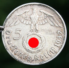 Convolute with special large pure silver original 5 Reichsmark 1937 Deutsches Reich with Eagle & HK & WH goggles. WWII