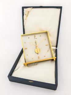 LeCoultre table clock with 8-day bridge movement – with original box –  1960s