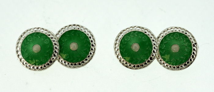 Sterling silver green and white enamel cufflinks for men, Birmingham 2012, J Aitkin & Son