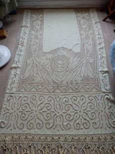 Very beautiful and old curtain / panel entirely in linen - light yellow - handmade - with fringes 2,40 m x 1,30 m - 1900s - 1900s - France