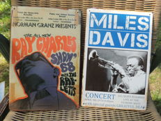 Two Stunning Memorial Signs - Miles Davis - Concert  - April 9th 1970 - And Ray Charles Show 1968