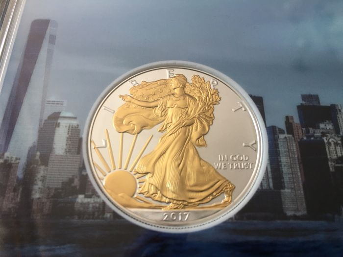 USA - 1 Dollar 2017 'American Eagle' partial gold plated edition - 1 oz silver