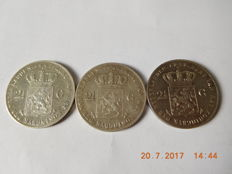 The Netherlands – 2½ guilder coins 1847 and 1848 Willem II (3 pieces) – silver