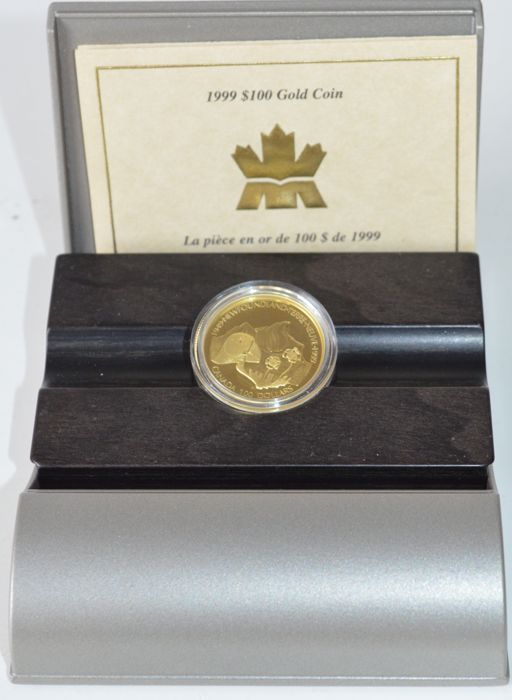 "Canada - 100 dollars 1999 ""Newfoundland's Confederation with Canada"" - silver and gold"