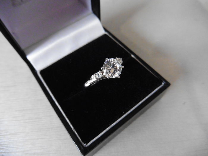 Platinum Diamond Set Solitaire Ring - 0.50ct / 0.09ct - size 52