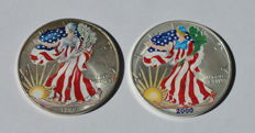 "United States - 2x 1 Dollar ""Liberty"" 1999, 2000 - 1oz Silver, painted"