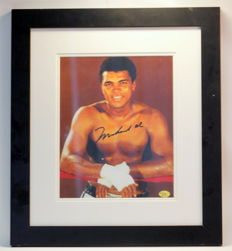 Hand signed picture by Muhammad Ali in wooden & glass frame, With Certificate of Authenticity