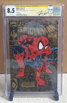 Marvel Comics – Spider-man #1 – Gold Variant – Signed By Stan Lee And Todd McFarlane – CGC Grade 8.5 – (1990)