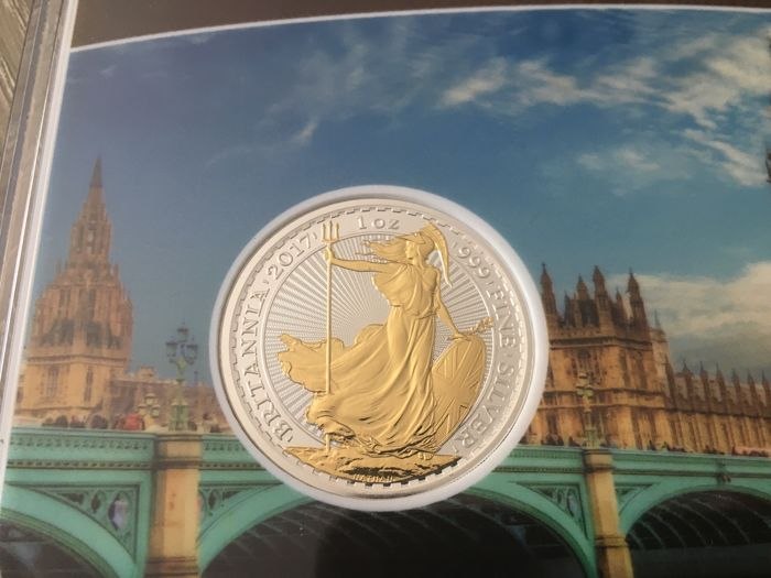 Great Britain - 2 Pounds 2017 'Britannia' partial gold plated edition - 1 oz silver