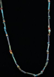 Egyptian necklace with multicolor faience  beads.- ca. 54 cm - c. 21,26 inches