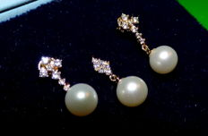 14 kt gold set with freshwater pearls and zirconia