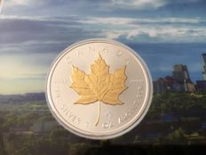 Canada - 5 Dollars 2017 'Maple Leaf' partial gold plated edition - 1 oz silver