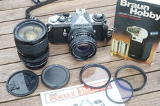 Pentax ME with 2 lenses and accessories