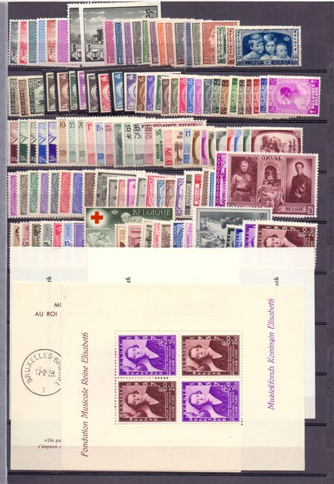 Belgium 1935/1941 – Collection of complete series between OBP 404 and 537B + OBP BL 7/8 and 13/14