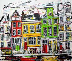 Mathias - Study of painting, three colors houses